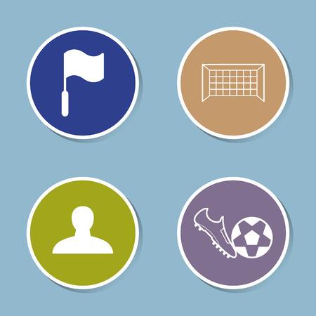goal net: soccer icon set vector illustration. flag, goal, net, player, shoe, boot, ball kick and shoot.