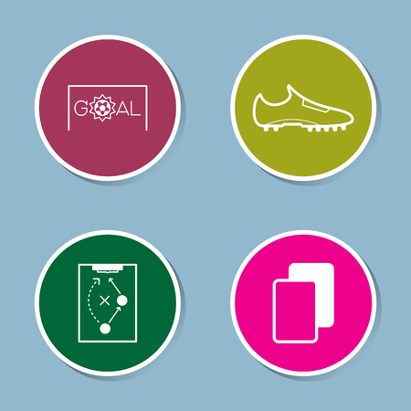 soccer goal: soccer icon set vector illustration. goal, ball, score, shoe, boot, plan, strategy, yellow card and red card.