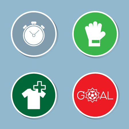 stop watch: soccer icon set vector illustration. stop watch, time, goalkeeper, glove, injury, substitution, player, goal and score.