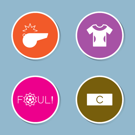 foul: soccer icon set vector illustration. whistle, shirt, player, foul, captain and armband.