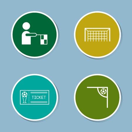 goal net: soccer icon set vector illustration. referee, offside, flag, goal, net, ticket, corner and ball.