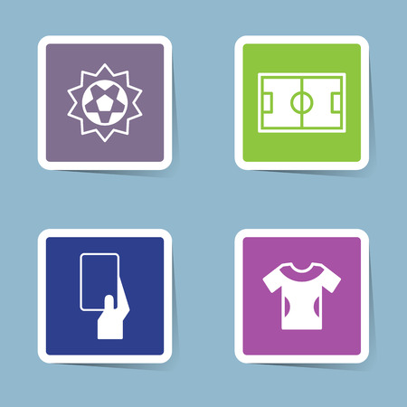 card player: soccer icon set vector illustration. ball, shoot, score, stadium, field, yellow card, red card, card, shirt and player.