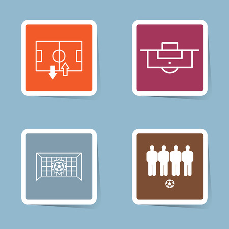 substitution: soccer icon set vector illustration. stadium, field, substitution, penalty, goal, net, score, wall, player and free kick.