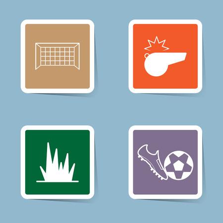 soccer goal: soccer icon set vector illustration. goal, net , whistle, grass, field, kick, shoe, boot and ball.