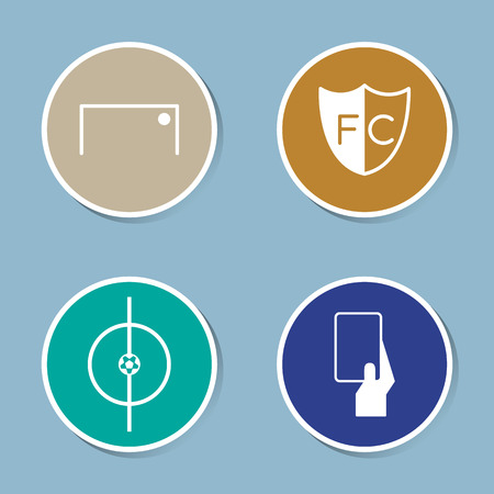 soccer goal: soccer icon set vector illustration. goal, ball, score, club, center, yellow card and red card.
