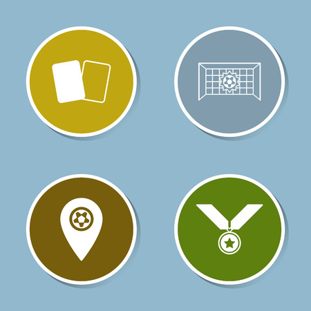 goal net: soccer icon set vector illustration. yellow card and red card, goal, net, score, map pin, medal, reward, winner, championship and victory.