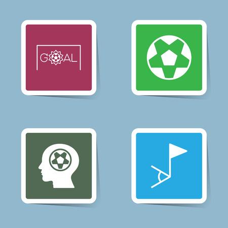 soccer goal: soccer icon set vector illustration. goal, shoot, score, ball, head, human, man, think, plan, strategy, corner flag and corner. Illustration