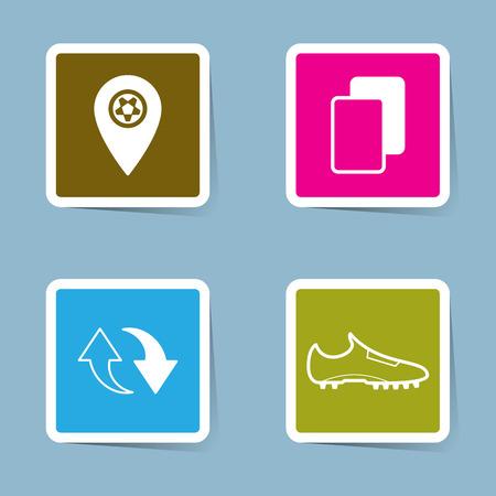 icono del fútbol establece ilustración vectorial. distribución de pines, tarjeta amarilla, roja tarjeta, tarjeta, sustitución, bota, zapato y patada.