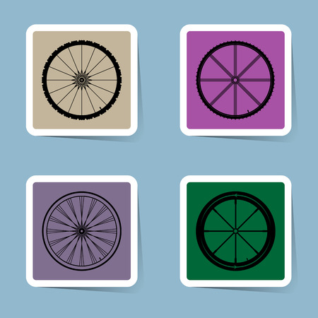 spoke: bicycle wheel icon set vector illustration Illustration