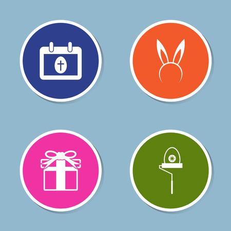 hairband: Easter icon set vector illustration. calendar, egg, cross, rabbit, bunny, hairband, gift, present and paint roller.
