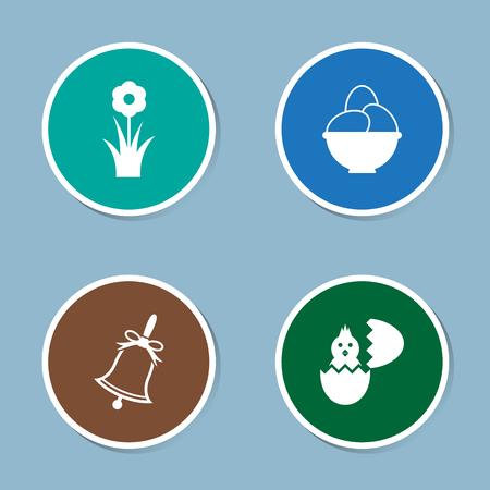 egg plant: Easter icon set vector illustration. flower, plant, field, spring, garden, egg, bell, chick, chicken, animal and hatch.