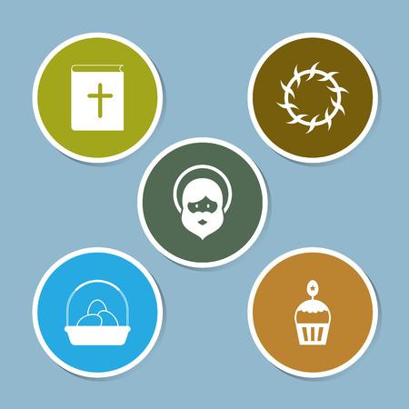 Easter icon set vector illustration. bible, book, thorns, egg, basket, cake, sweet, bread, jesus and prophet.
