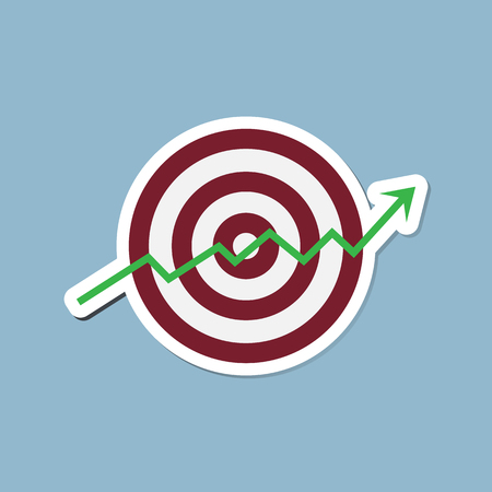high up: stock arrow raise up high with target vector illustration.