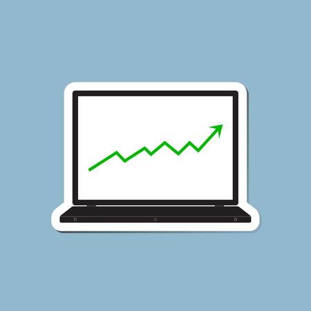 raise: stock arrow raise up high with laptop vector illustration.