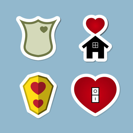 happy couple at home: love icon set vector illustration