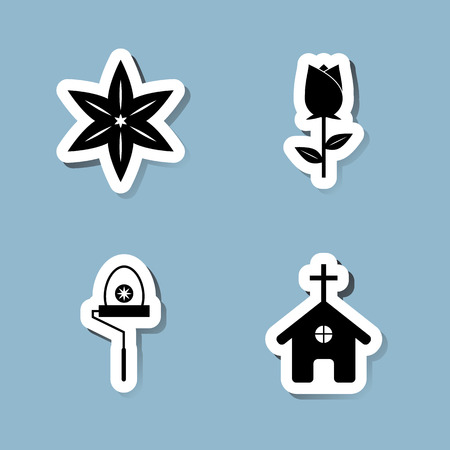 church flower: Easter icon set vector illustration. lily, flower, rose, paint roller, church and cross.