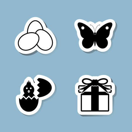 hatch: Easter icon set vector illustration. egg, butterfly, insect, hatch, chick, chicken, animal, present and gift.