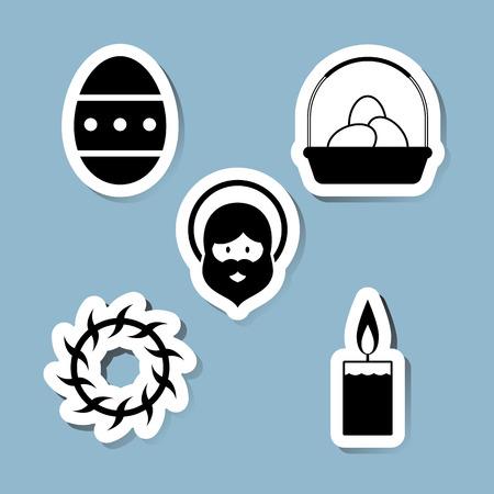 easter candle: Easter icon set vector illustration. egg, basket, thorns, candle, jesus and prophet.