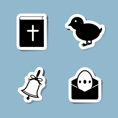 bible book: Easter icon set vector illustration. bible, book, chick, chicken, animal, bell, envelope, letter and egg.