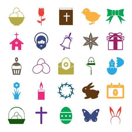 hairband: Easter icons set illustration