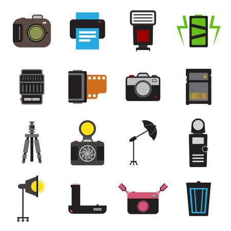 accessory: Camera and accessory icon set vector illustration Illustration