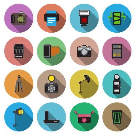 photo printer: Camera and accessory flat long shadow icon set vector illustration