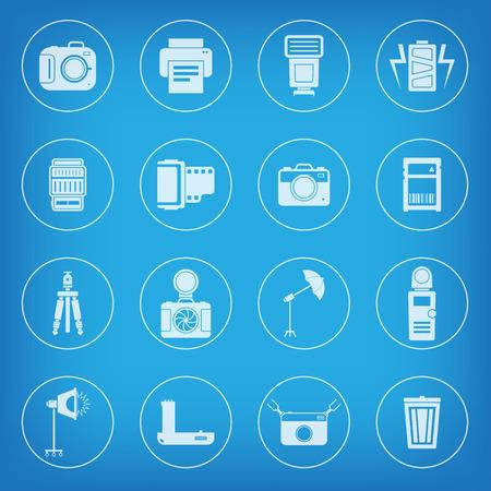 photo printer: Camera and accessory icon set vector illustration Illustration