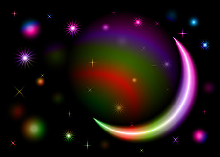 Abstract colorful moon shape space design vector illustration texture background