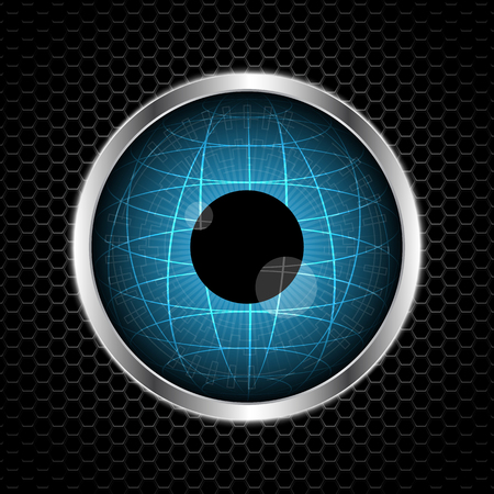 eye globe with abstract metal texture vector illustration background