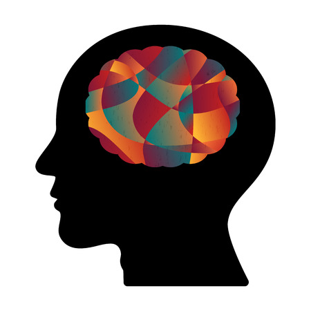Abstract colorful curve shape human head brain, vector illustration.