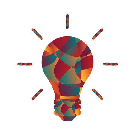 Abstract colorful curve shape power light bulb, vector illustration.