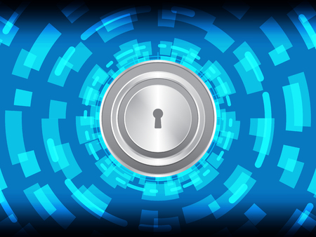 Cyber security safety concept, master key lock with abstract circle technology digital background, vector illustration.