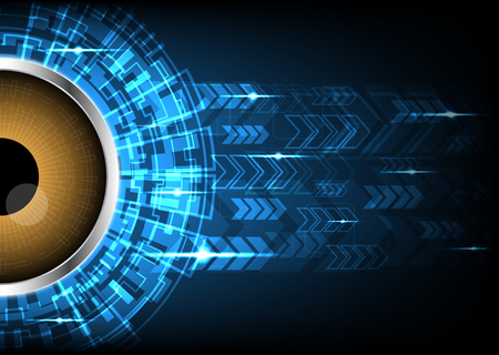 Cyber security safety concept, watching eye with abstract circle technology digital background, vector illustration. Illustration