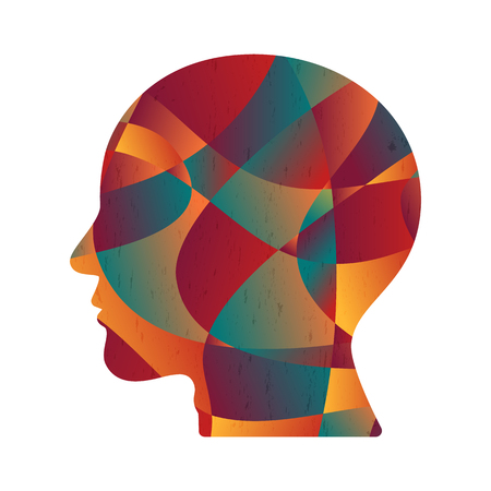 abstract colorful curve shape human head, vector illustration.