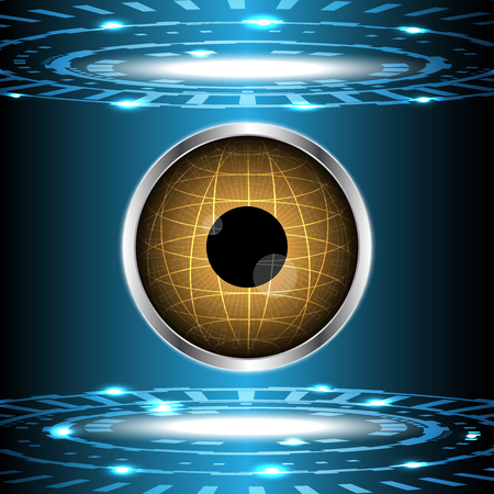 Abstract technology digital circle with eye globe vector illustration background