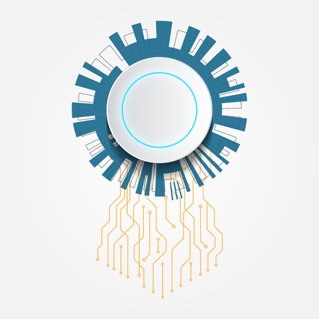 Abstract white futuristic technology circle with circuit vector illustration texture background Illustration
