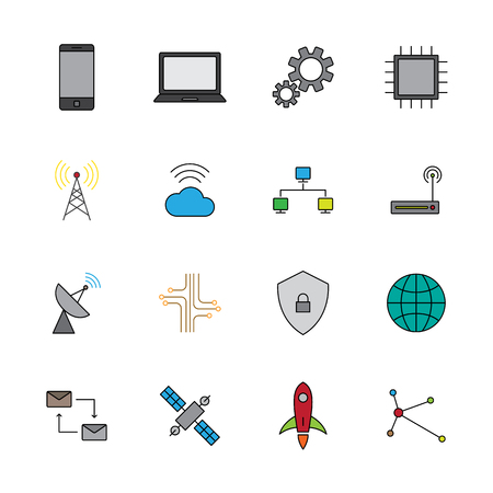 Technology digital flat color icon set vector illustration Illustration