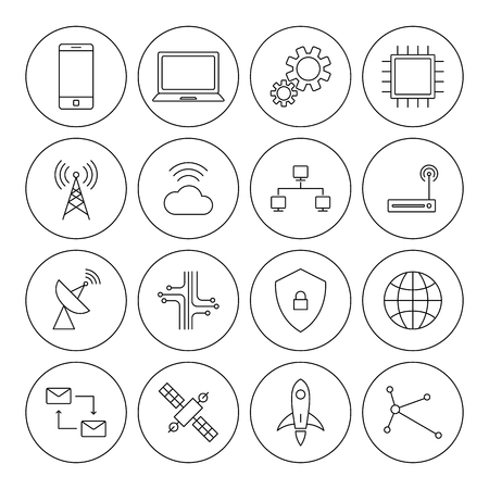 transmit: Technology digital thin line icon set vector illustration