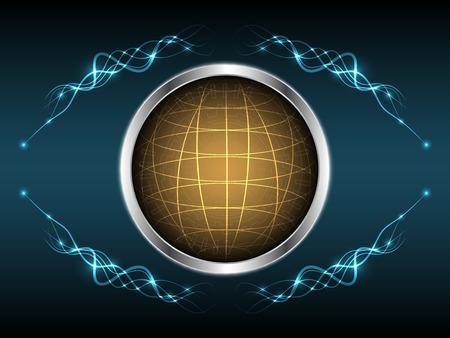 Abstract globe light line element shape design vector illustration background