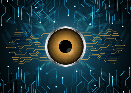 Cyber security safety concept, watching eye with circuit technology digital background, vector illustration.
