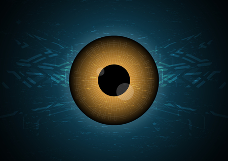 Cyber security safety concept, watching eye technology digital background, vector illustration.