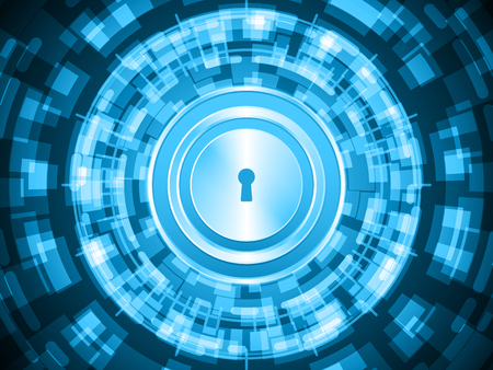 Cyber security safety concept, keyhole lock with abstract circle technology digital background, vector illustration.