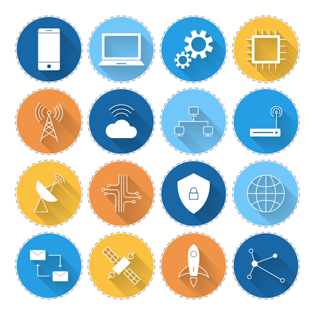 Technology digital long shadow icon set vector illustration