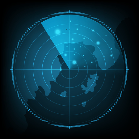 technology digital future abstract background, radar screen with map, vector illustration.