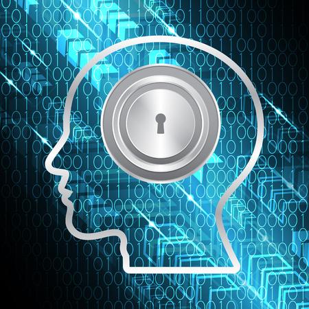 technology digital future abstract, cyber security concept background, human head keyhole lock binary arrow, vector illustration.