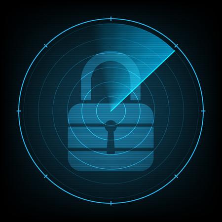 blip: technology digital future abstract background, radar screen cyber security lock, vector illustration.