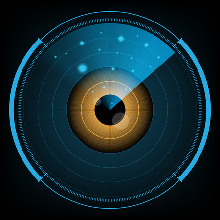 Technology digital future abstract background, radar screen watching eye, vector illustration. Illustration
