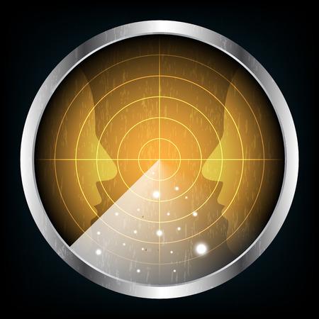 Technology digital future abstract background, radar screen human face, vector illustration. Illustration