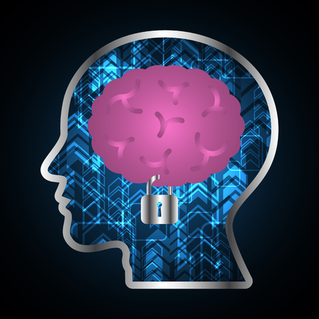Technology digital future abstract, cyber security concept background, brain lock human head, vector illustration.