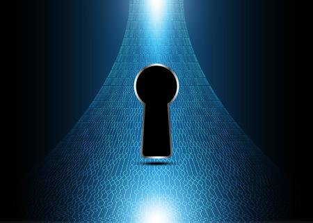 Technologie digitale toekomst abstracte, cyber beveiligings concept achtergrond, sleutelgat binair, vector illustratie.